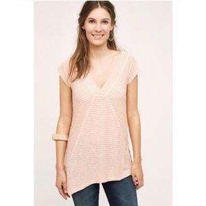 Meadow Rue Pink & Cream Asymmetrical Striped Top L